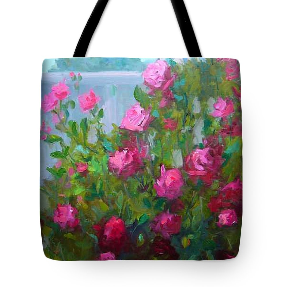 Climing Red Roses On Fence Tote Bag featuring the painting MyBack Yard Roses by Patricia Kness