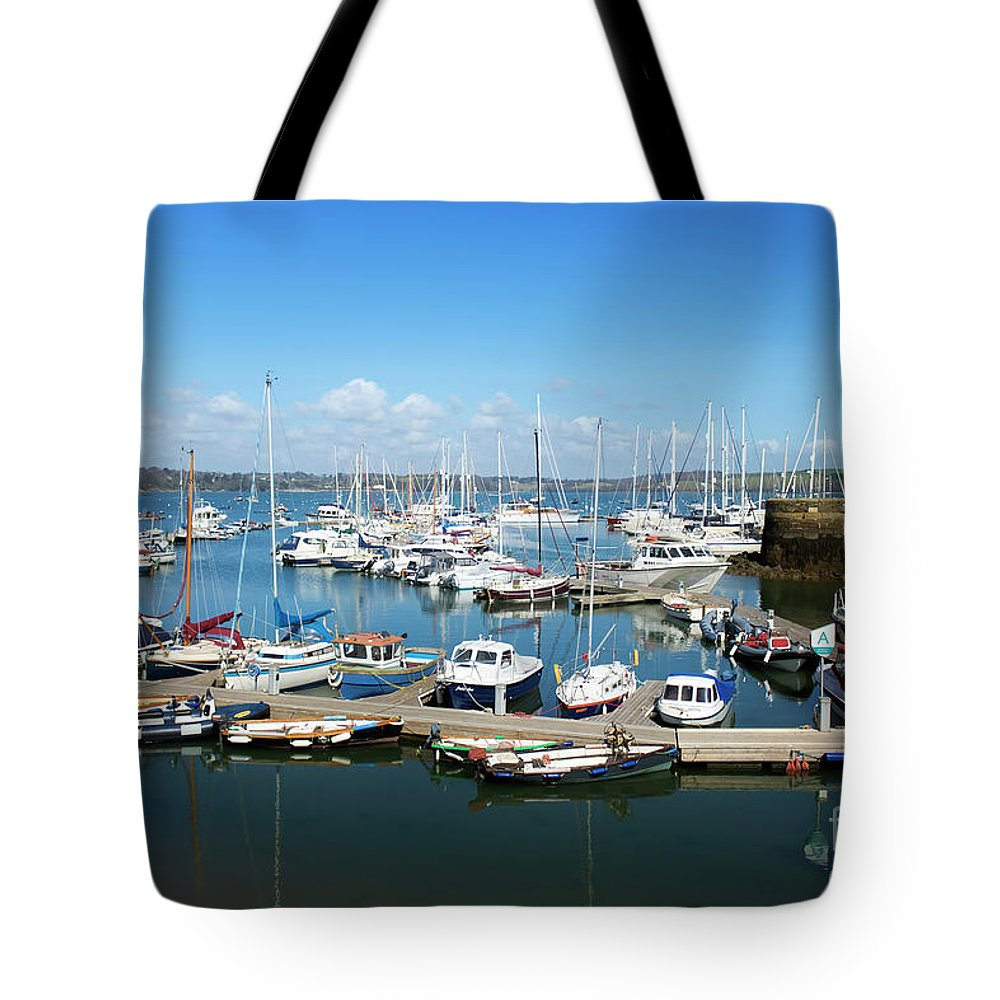 Mylor Tote Bag featuring the photograph Mylor Marina Cornwall by Terri Waters