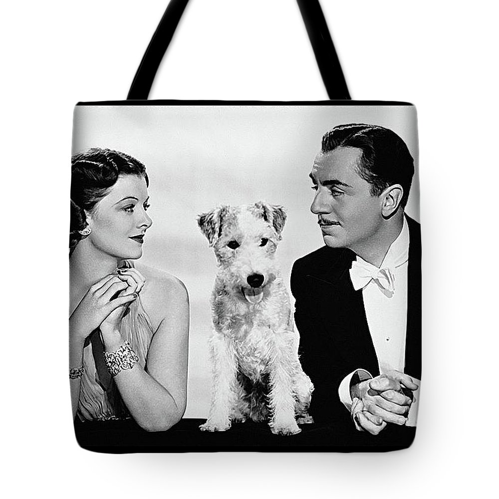 Myrna Loy Asta William Powell Publicity Photo The Thin Man 1936 Tote Bag featuring the photograph Myrna Loy Asta William Powell Publicity Photo The Thin Man 1936 by David Lee Guss