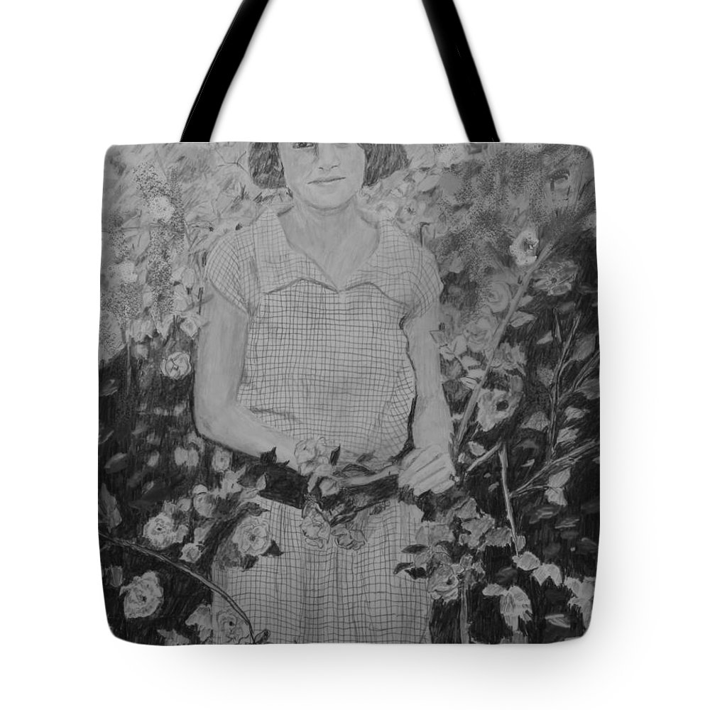 Lady Tote Bag featuring the drawing Mystery Lady by Quwatha Valentine