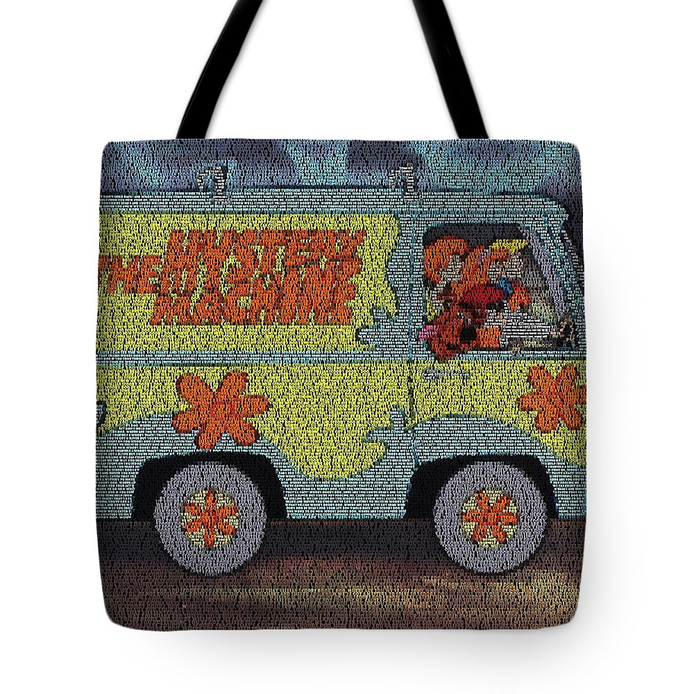 Scooby Doo Tote Bag featuring the painting Mystery Machine Lyric Mosaic by Paul Van Scott