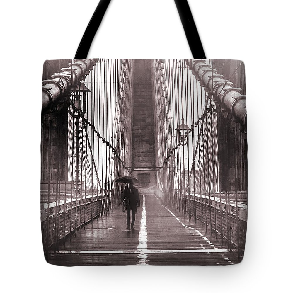 Brooklyn Bridge Tote Bag featuring the photograph Mystery Man Of Brooklyn by Az Jackson