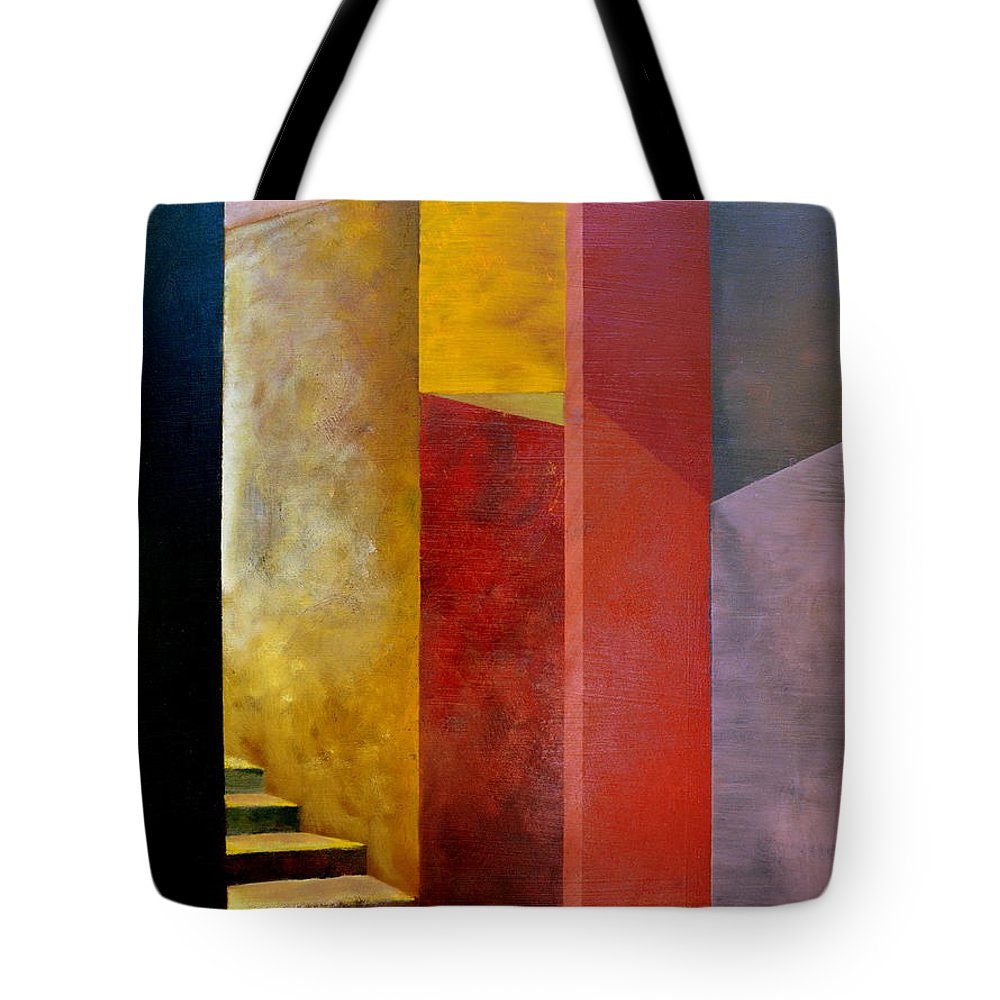 Gold Tote Bag featuring the painting Mystery Stairway by Michelle Calkins