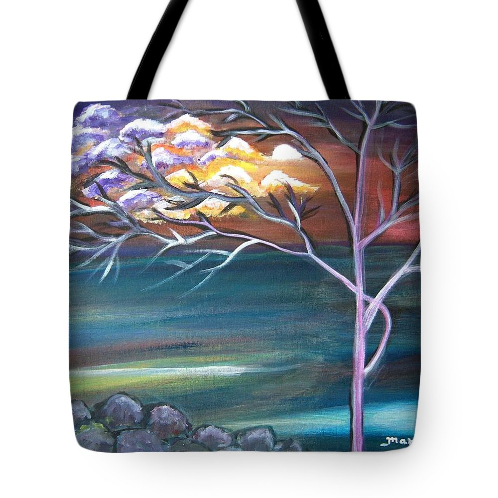 Abstract Painting Tree Sun Moon Clouds Landscape Surreal Mood Purple Red Orange Blue Green White Rocks Canvas Paper Tote Bag featuring the painting Mystic Evening by Manjiri Kanvinde