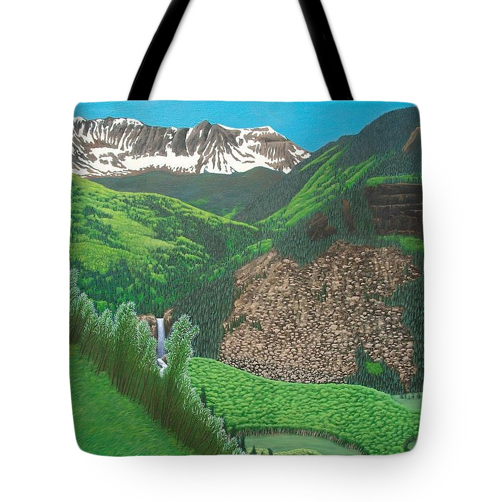 Philipp Merillat Painter Landscape Trout Lake Telluride Colorado Kunst Kunstler Maler Landschaft Landscapes Painting Paintings Scenic Mountains American Amerikanischen West Western Mountain Waterfall Mystic Falls San Miguel River Falls Waterfalls United States Art Tote Bag featuring the painting Mystic Falls On Lake Fork San Miguel River by Philipp Merillat