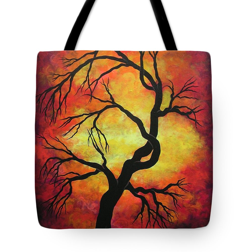 Acrylic Tote Bag featuring the painting Mystic Firestorm by Jordanka Yaretz