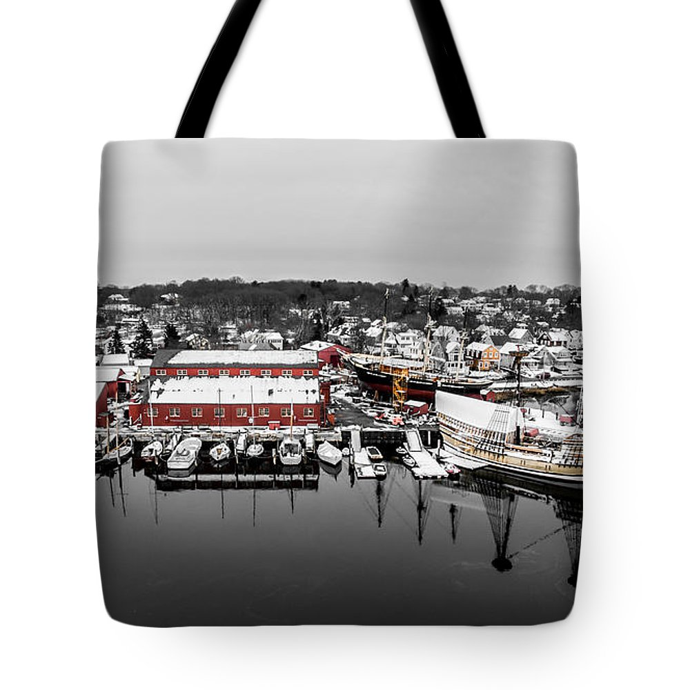 Winter Tote Bag featuring the photograph Mystic Seaport In Winter by Petr Hejl