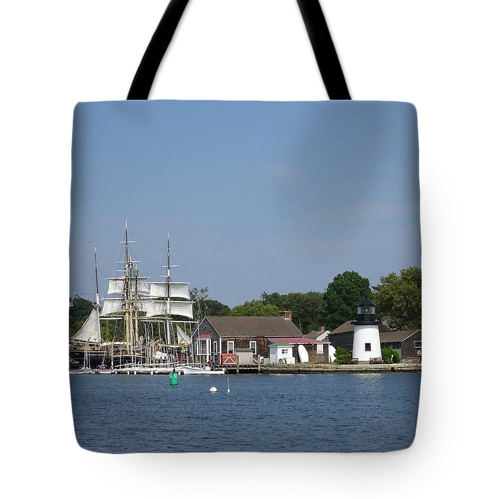 Wooden Tote Bag featuring the photograph Mystic Seaport Lighthouse by Red Cross