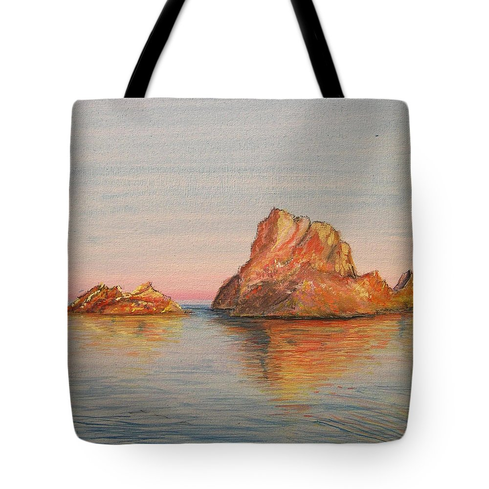 Island Tote Bag featuring the painting Mystical Island Es Vedra by Lizzy Forrester