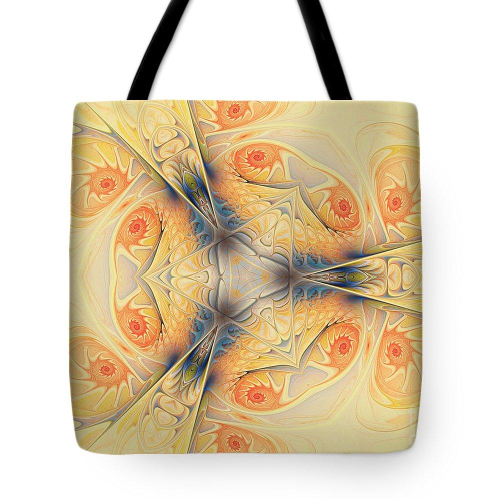 Spirals Tote Bag featuring the digital art Mystical Spirals by Deborah Benoit