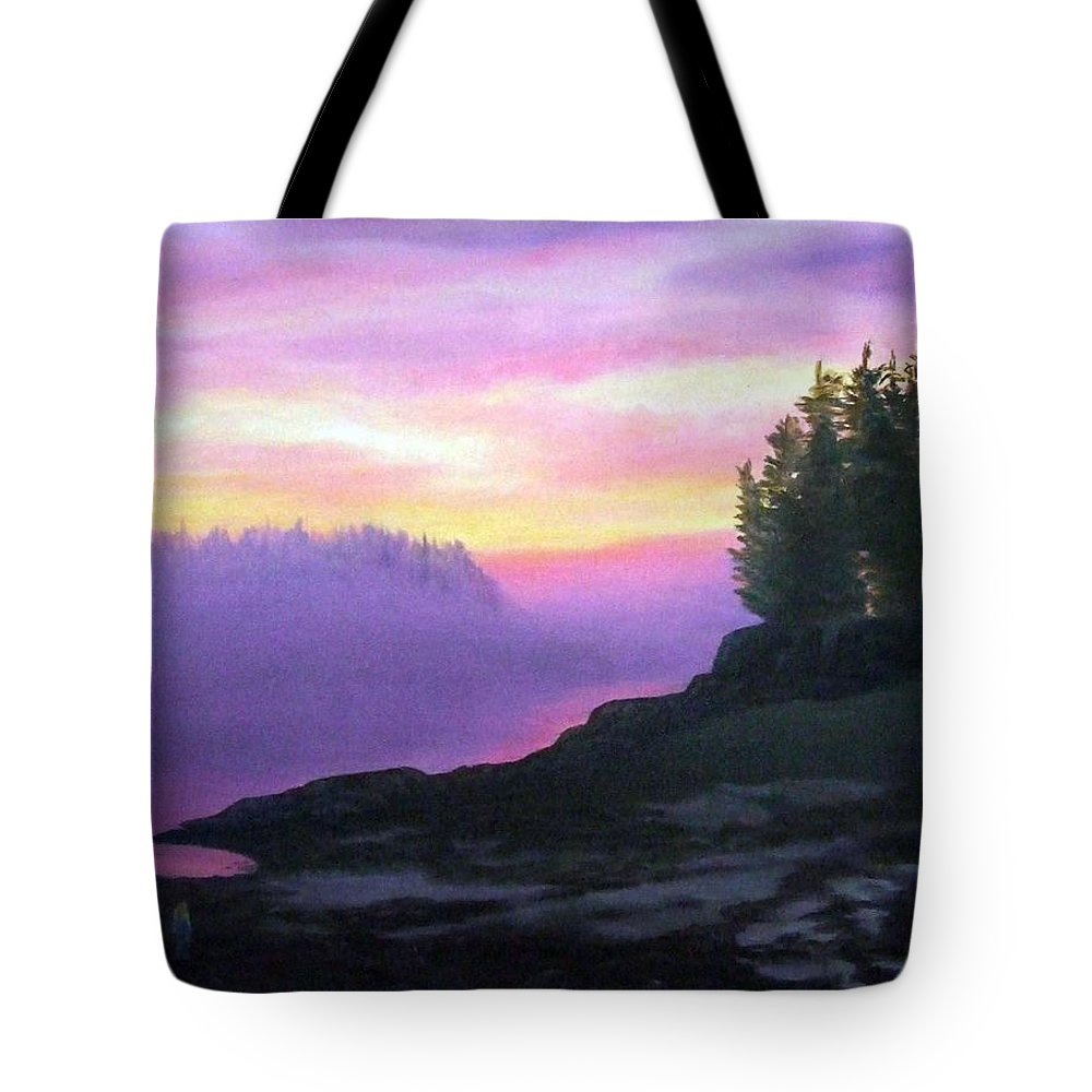 Sunset Tote Bag featuring the painting Mystical Sunset by Sharon E Allen