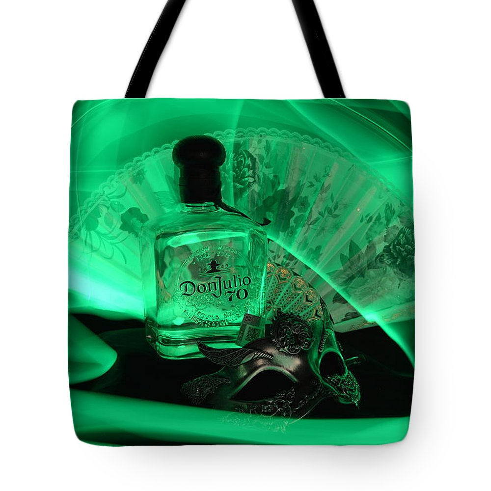 Bottle Tote Bag featuring the photograph Mystique Green by Paulina Roybal