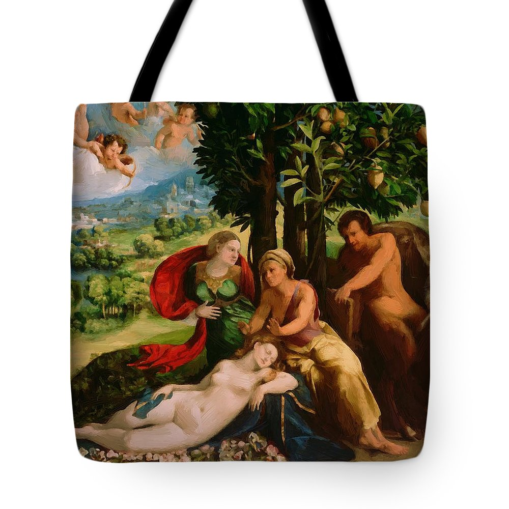 Mythological Tote Bag featuring the painting Mythological Scene 1524 by Dossi Dosso