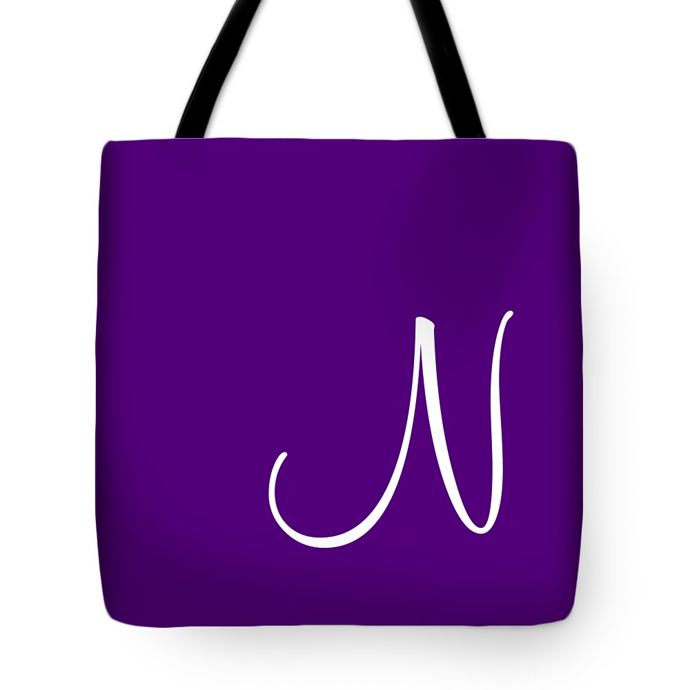 N Tote Bag featuring the digital art N In White Simple Script by Custom Home Fashions