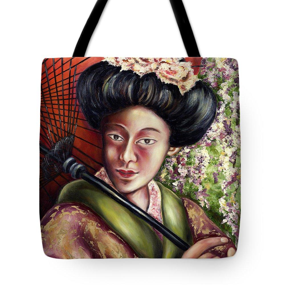 Japanese Tote Bag featuring the painting Nadeshiko by Hiroko Sakai