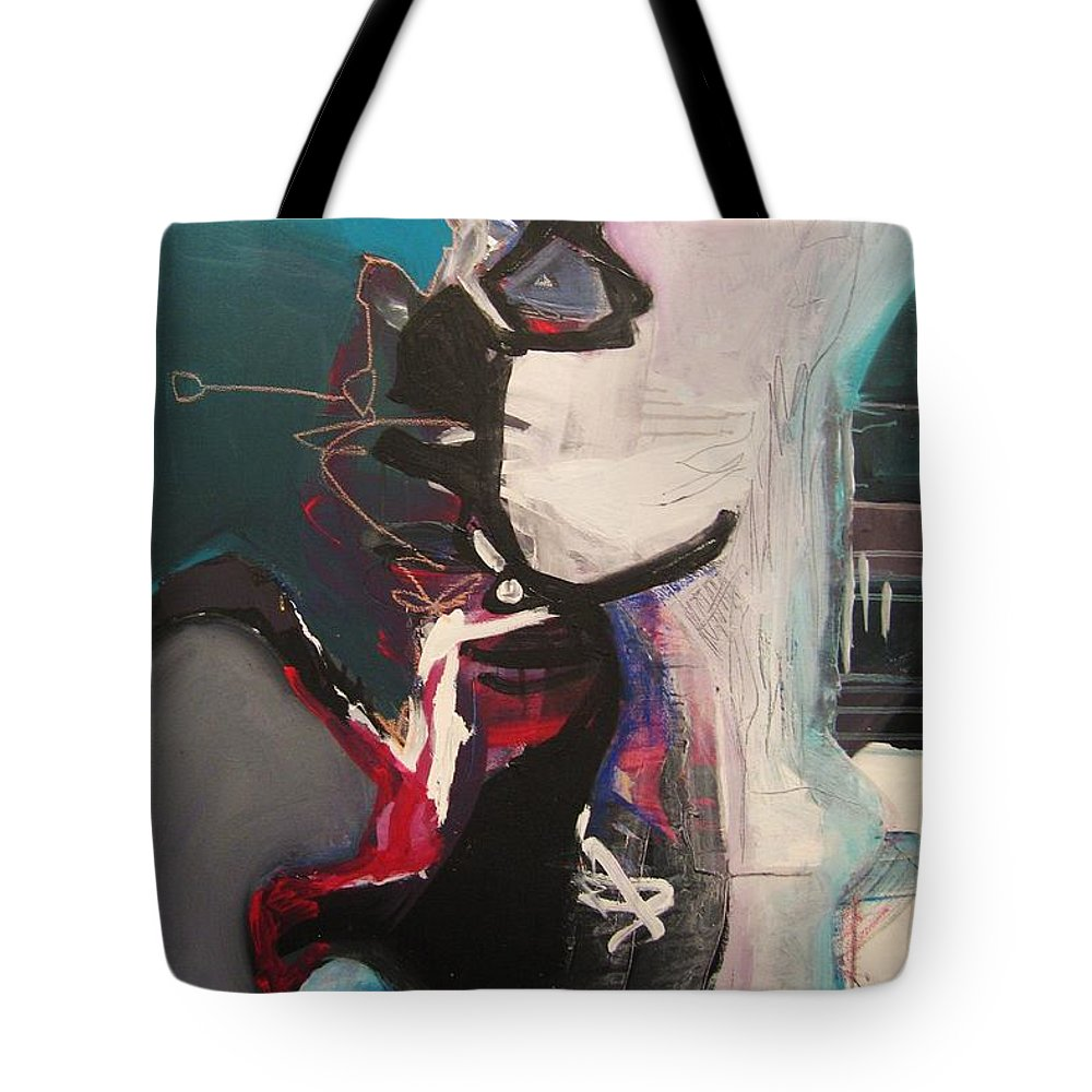 Abstract Art Paintings Tote Bag featuring the painting Nagging Voice by Seon-Jeong Kim