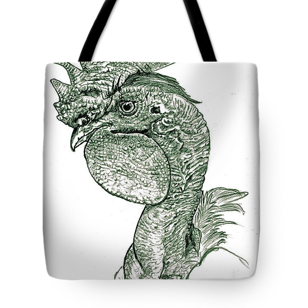 Rooster Tote Bag featuring the drawing Naked Neck Rooster by Susan Baker