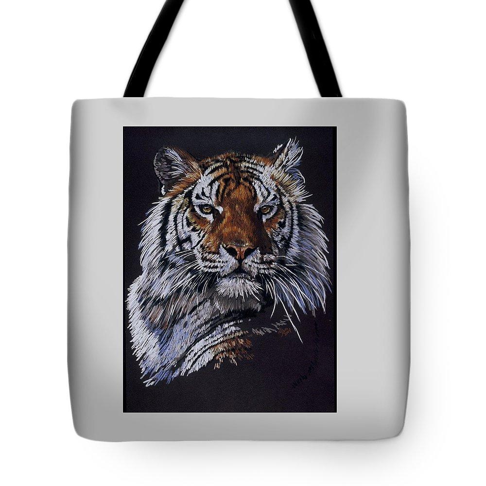 Tiger Tote Bag featuring the drawing Nakita by Barbara Keith