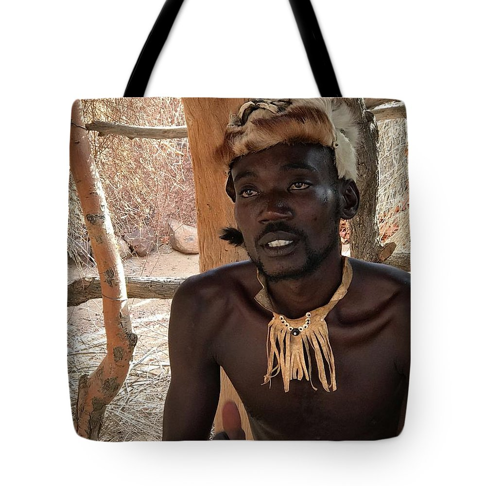 Namibia Tote Bag featuring the painting Namibia Tribe 2 - Chief by Robert SORENSEN