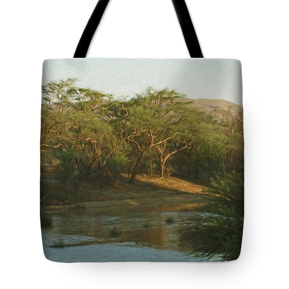 Africa Tote Bag featuring the digital art Namibian Waterway by Ernie Echols