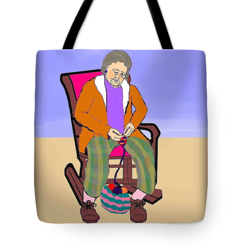 Grandmother Tote Bag featuring the digital art Nana Knitting by Pharris Art