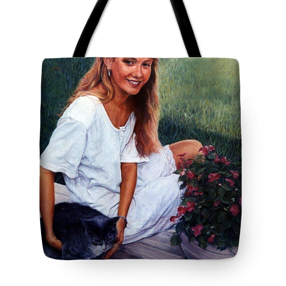 Portrait Tote Bag featuring the painting Nancy And Tiffany by Suzanne Berry