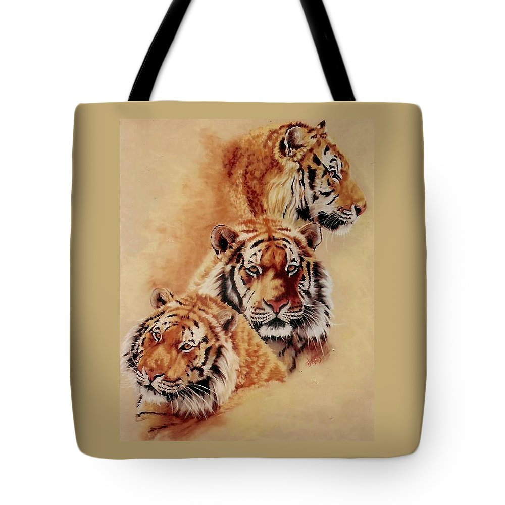 Tiger Tote Bag featuring the pastel Nanook by Barbara Keith