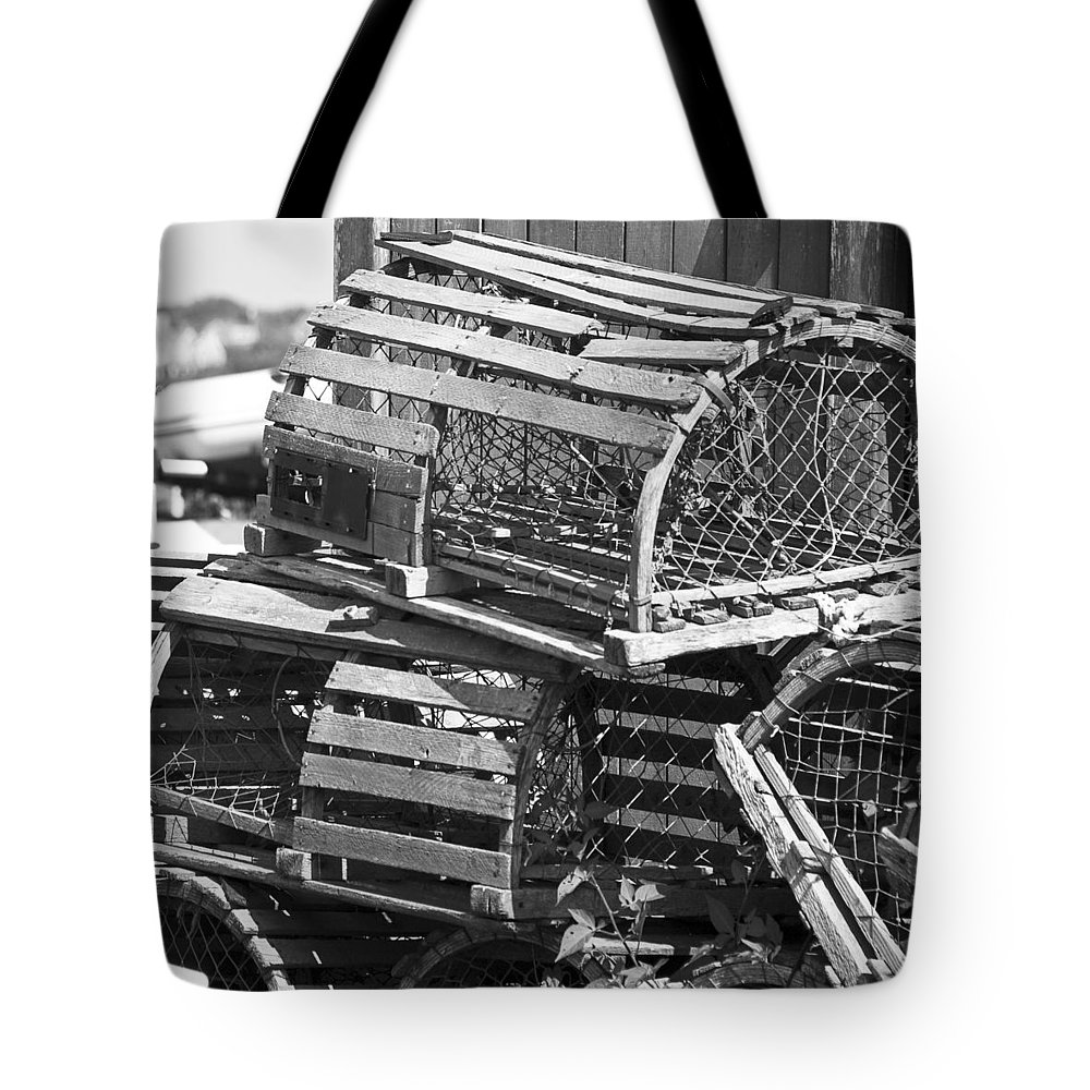 Nantucket Tote Bag featuring the photograph Nantucket Lobster Traps by Charles Harden