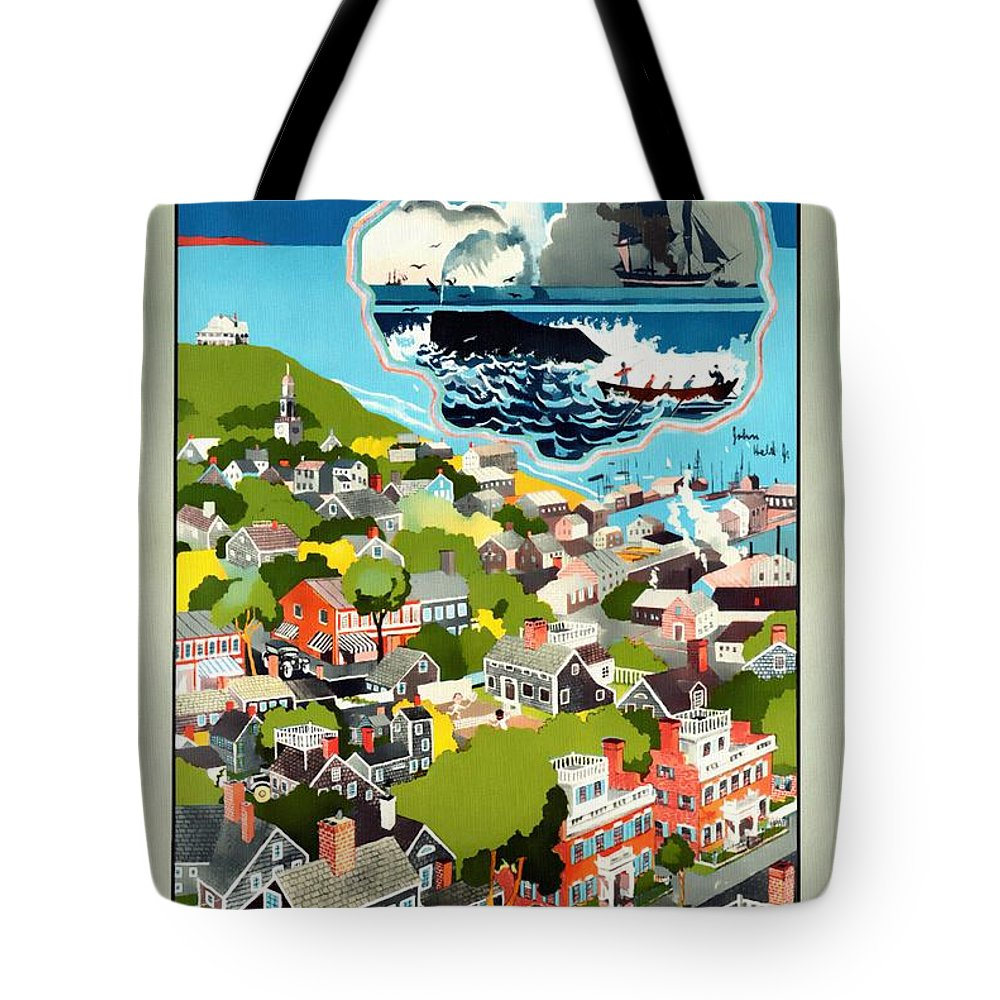 Vintage Poster Tote Bag featuring the mixed media Nantucket - Vintage Poster Restored by Vintage Advertising Posters
