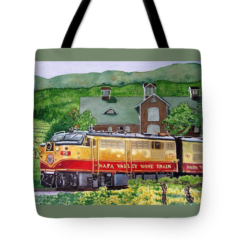 Napa Valley Wine Train Tote Bag featuring the painting Napa Wine Train by Gail Chandler