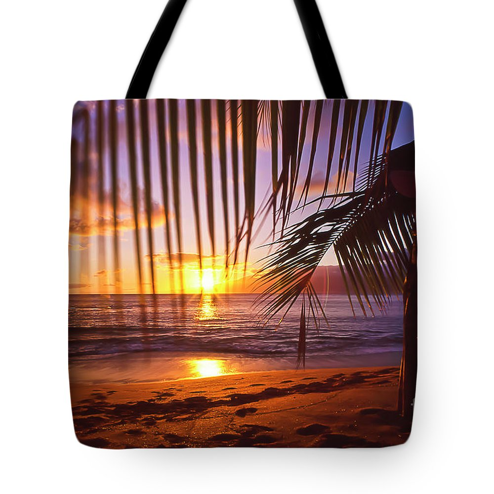 Sunset Tote Bag featuring the photograph Napili Bay Sunset Maui Hawaii by Jim Cazel