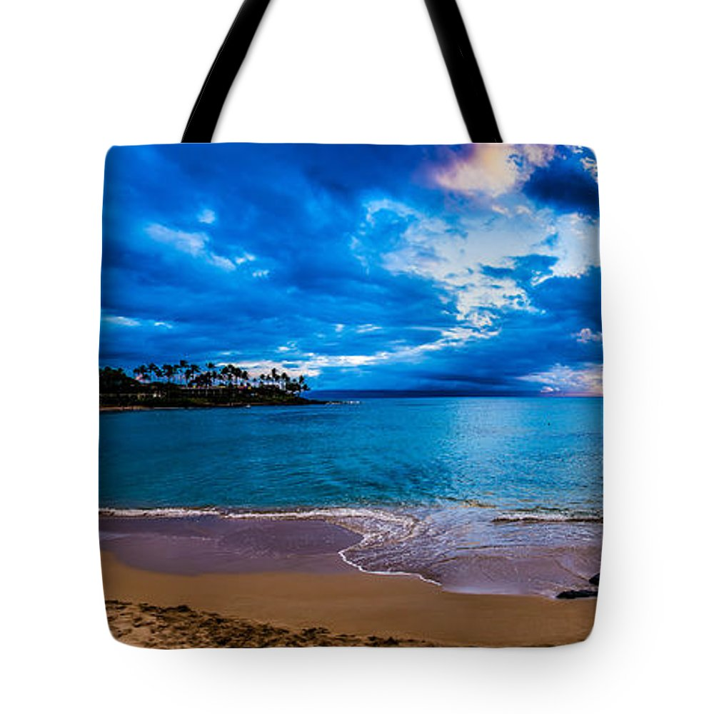 Beach Sunset Tote Bag featuring the photograph Napili Bay Sunset Panorama by Dave Fish