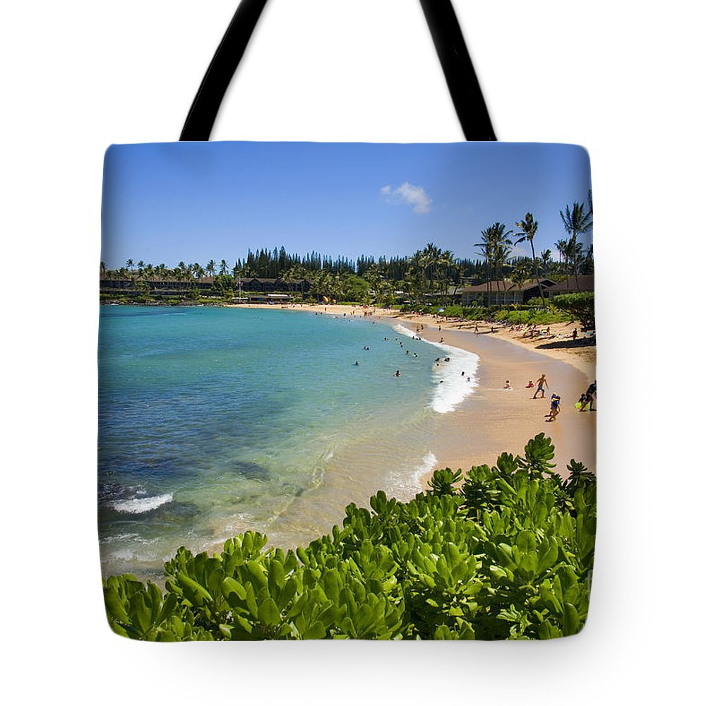 Bay Tote Bag featuring the photograph Napili Bay With Visitors by Ron Dahlquist - Printscapes