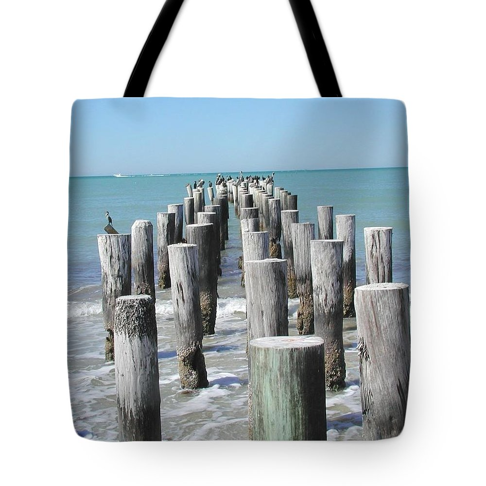 Ocean Tote Bag featuring the photograph Naples Pier by Tom Reynen