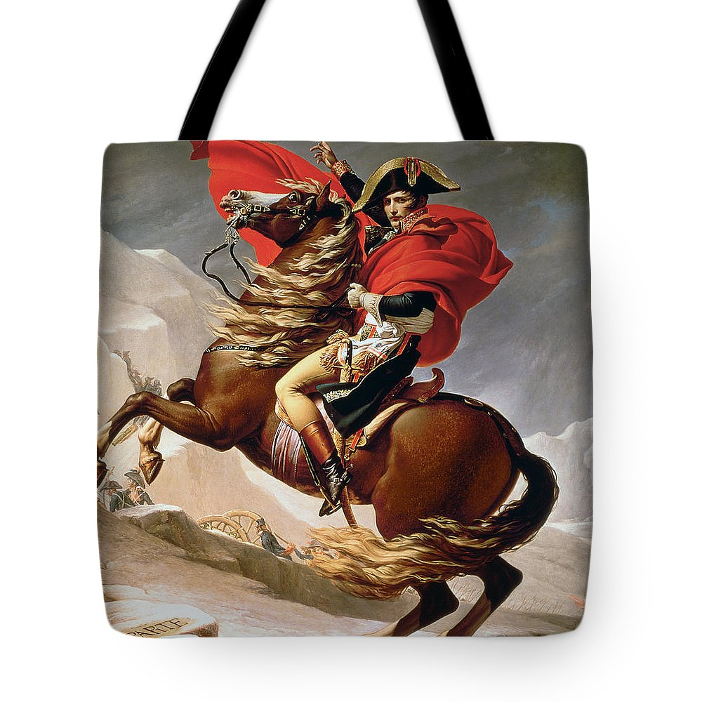Bonaparte; Mounted; Portrait; Horse; Horseback; Male; Marengo; Rearing; Napoleon I; 1769-1821 Tote Bag featuring the painting Napoleon Crossing The Alps by Jacques Louis David