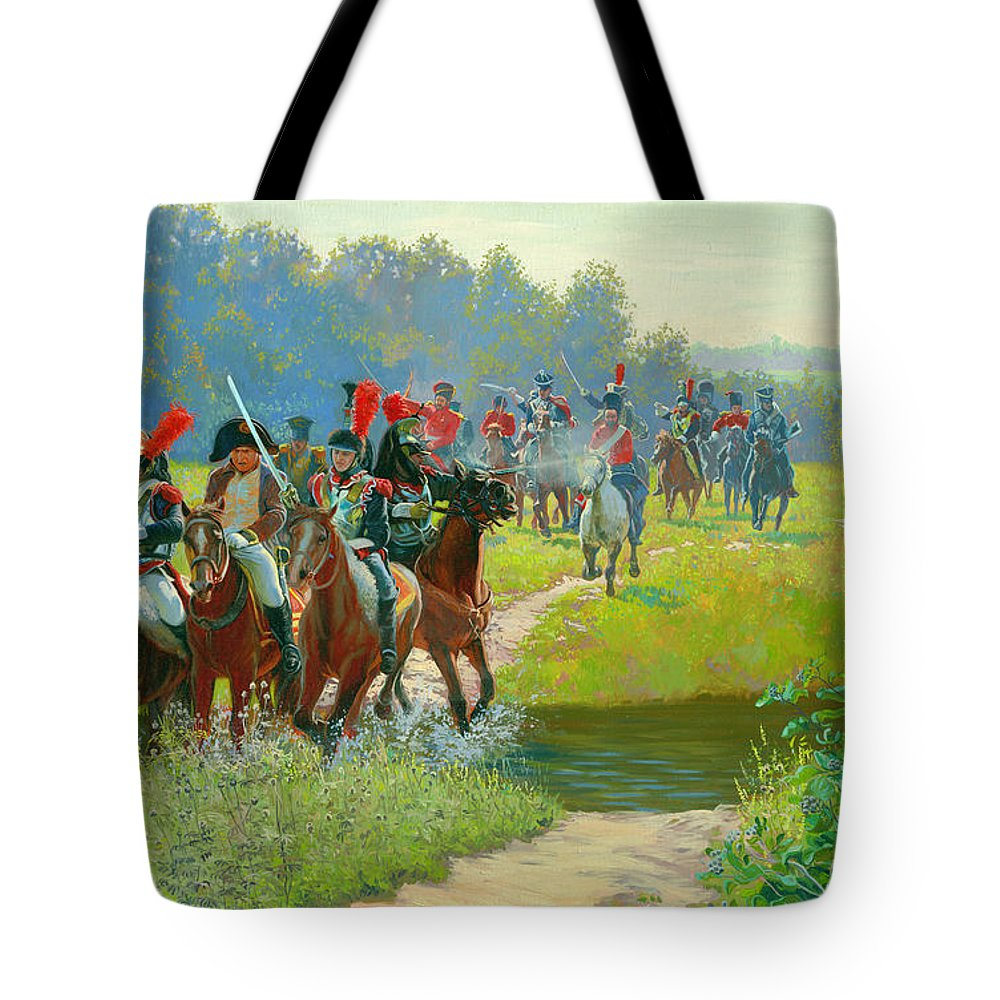 Horses Tote Bag featuring the painting Napoleon by Simon Kozhin