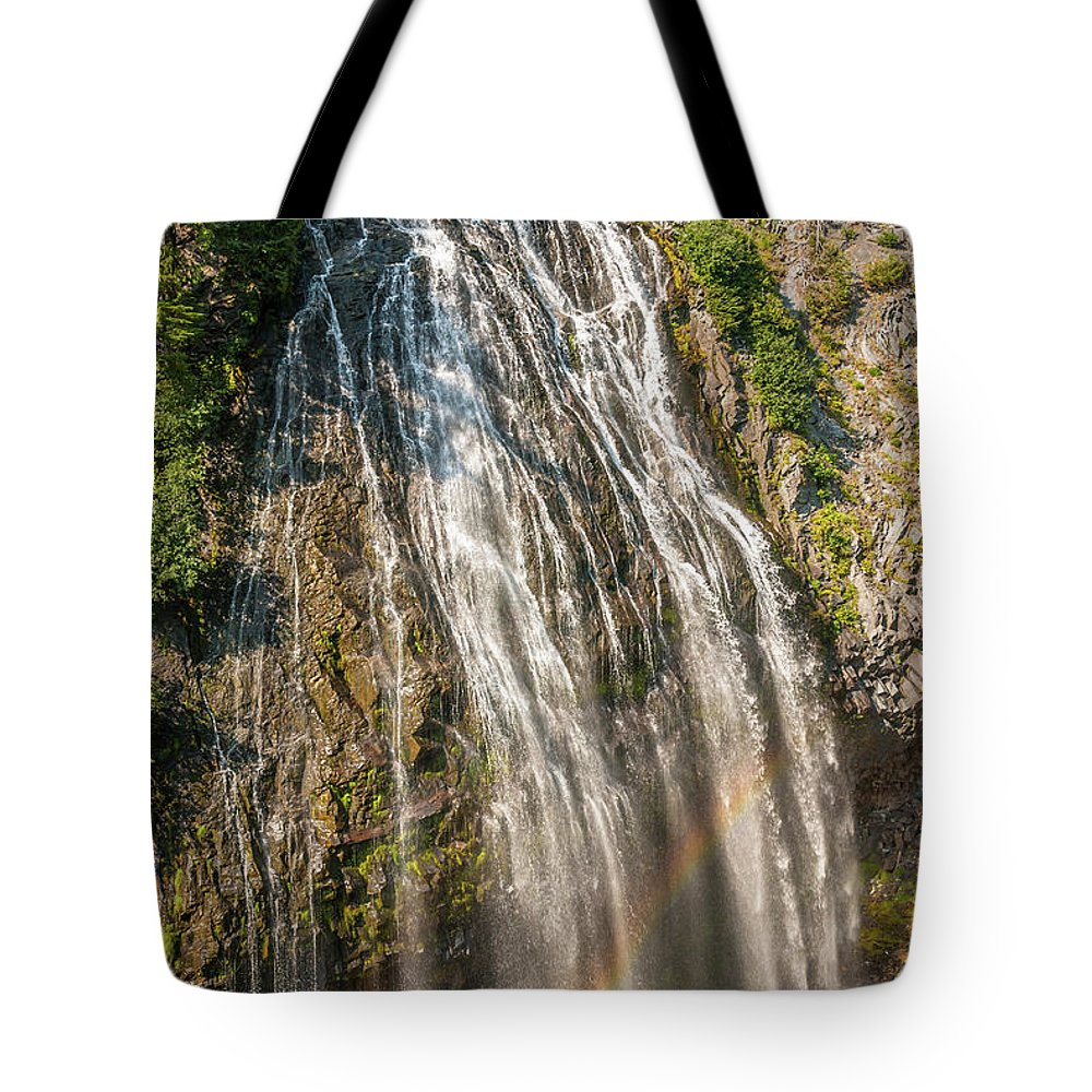 America Tote Bag featuring the photograph Narada Falls Rainbow by Marv Vandehey