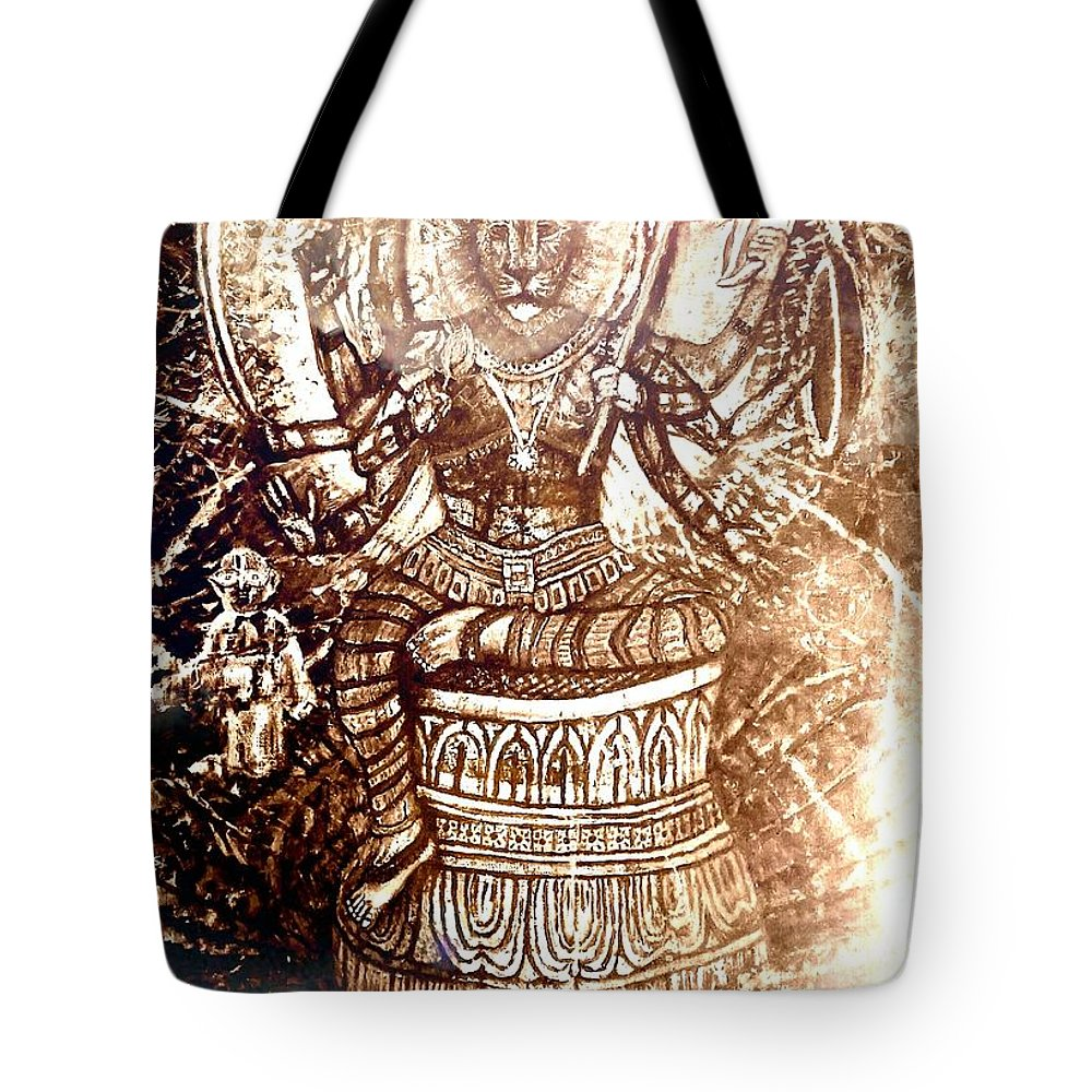 Narasimha Tote Bag featuring the mixed media Illuminated Narasimha Dev In Sepia by Michael African Visions