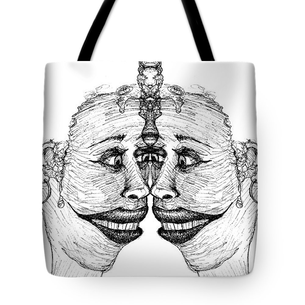 Vain Tote Bag featuring the drawing Narcissistic by Paul Griffin