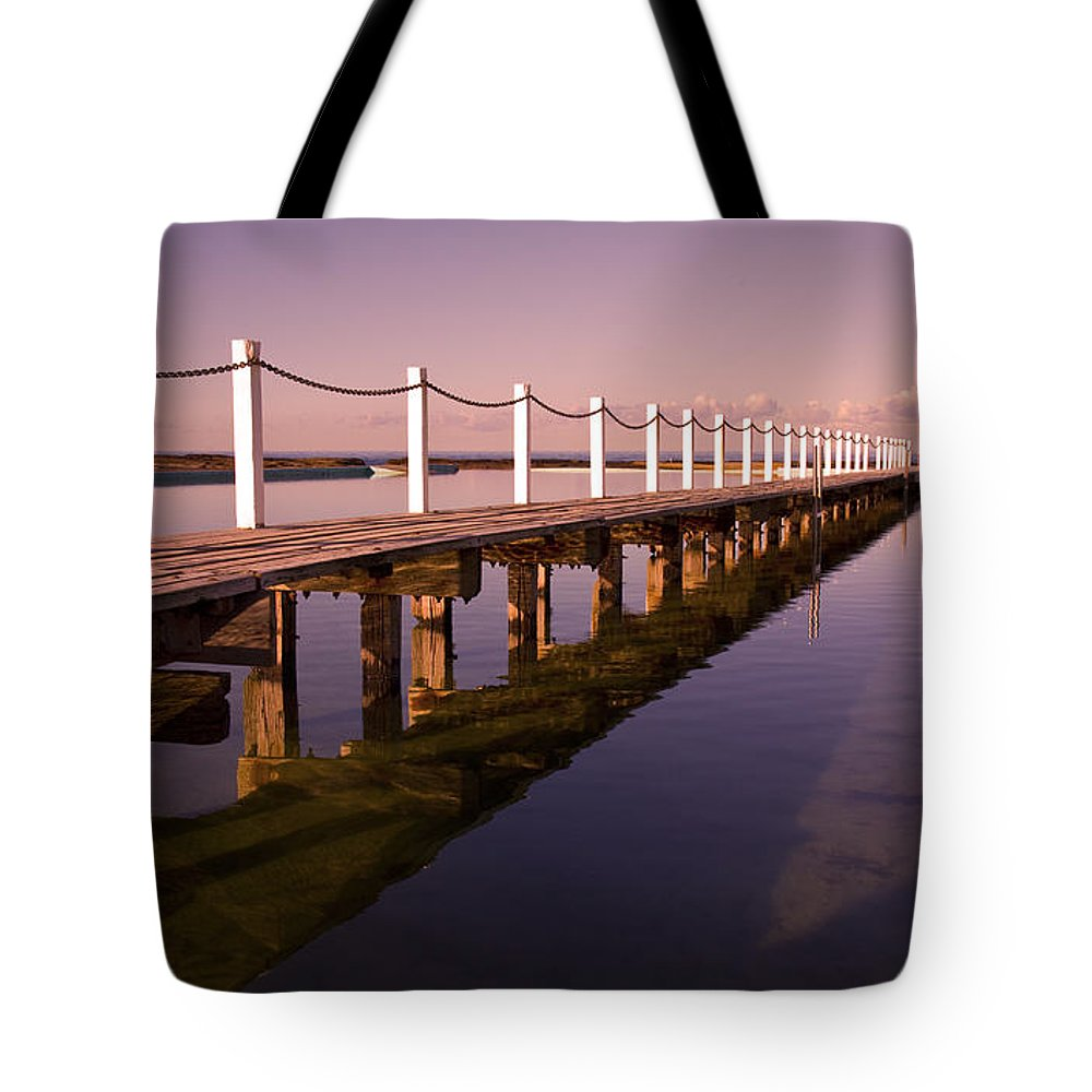 Narrabeen Sydney Sunrise Wharf Walkway Tote Bag featuring the photograph Narrabeen Sunrise by Sheila Smart Fine Art Photography