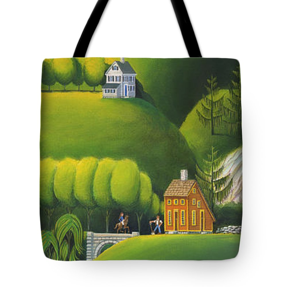 Deecken Tote Bag featuring the painting Narrow Foothills by John Deecken