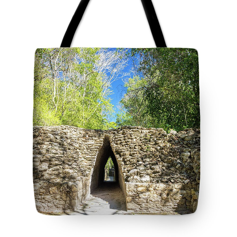 Becan Tote Bag featuring the photograph Narrow Passage In Becan, Mexico by Jess Kraft