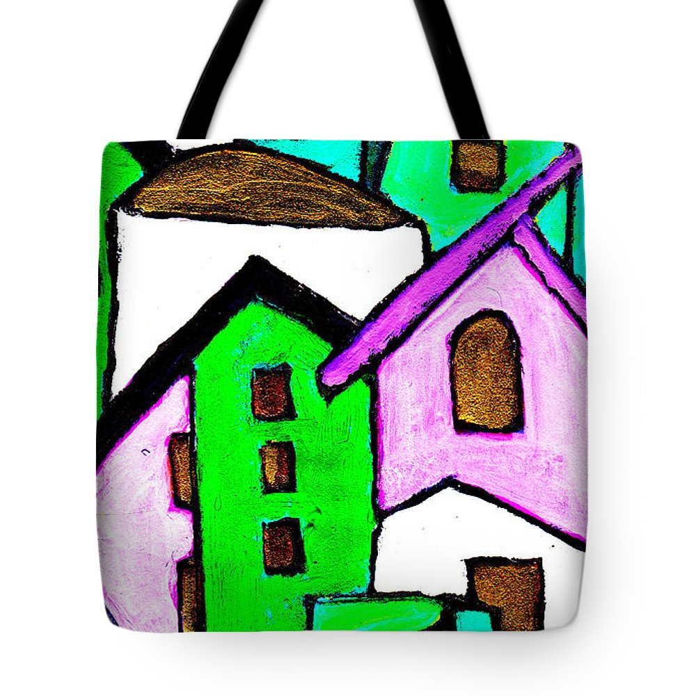 Village Tote Bag featuring the painting Narrow Village by Wayne Potrafka