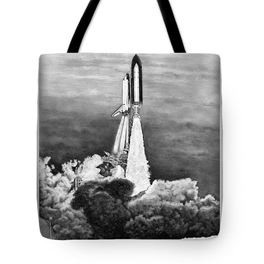 Pencil Tote Bag featuring the drawing NASA Space Shuttle by Murphy Elliott