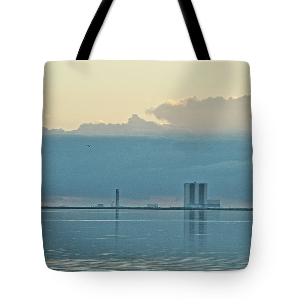Looking East Across The Indian River Lagoon To The Vab Tote Bag featuring the photograph Nasa Vab by Jeryl Moore