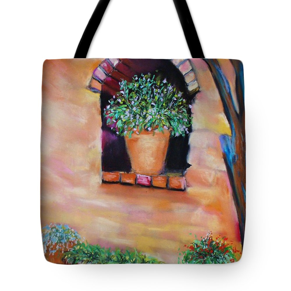 Courtyard Tote Bag featuring the painting Nash's Courtyard by Melinda Etzold