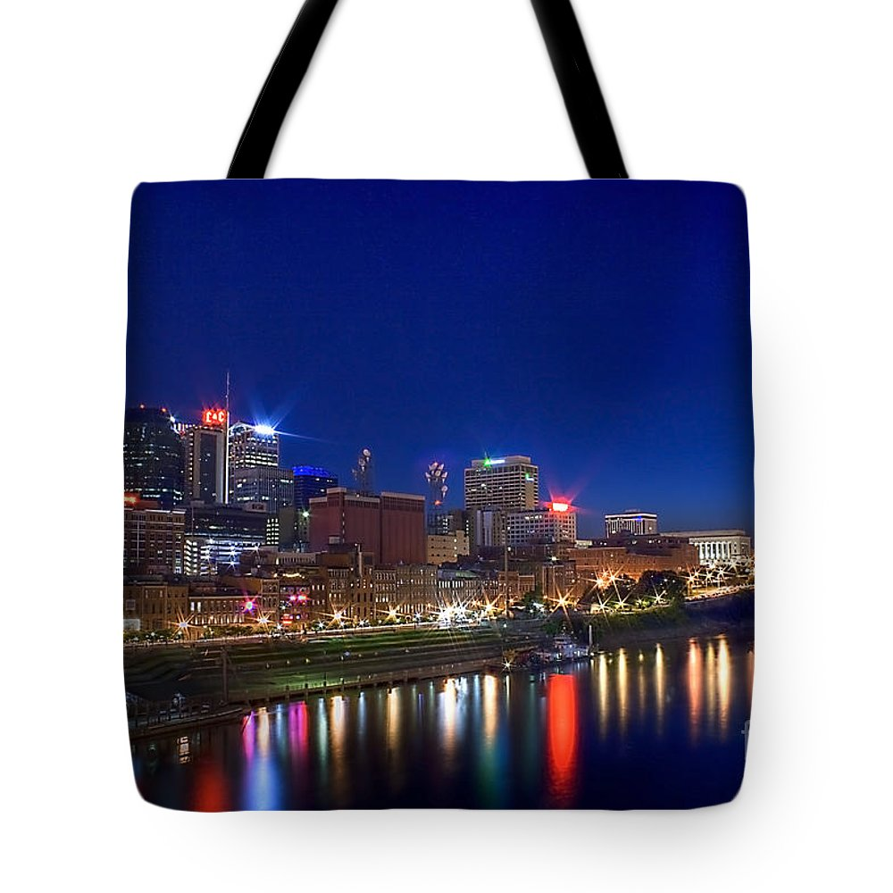 Cityscape Tote Bag featuring the photograph Nashville Skyline by Photography by Laura Lee