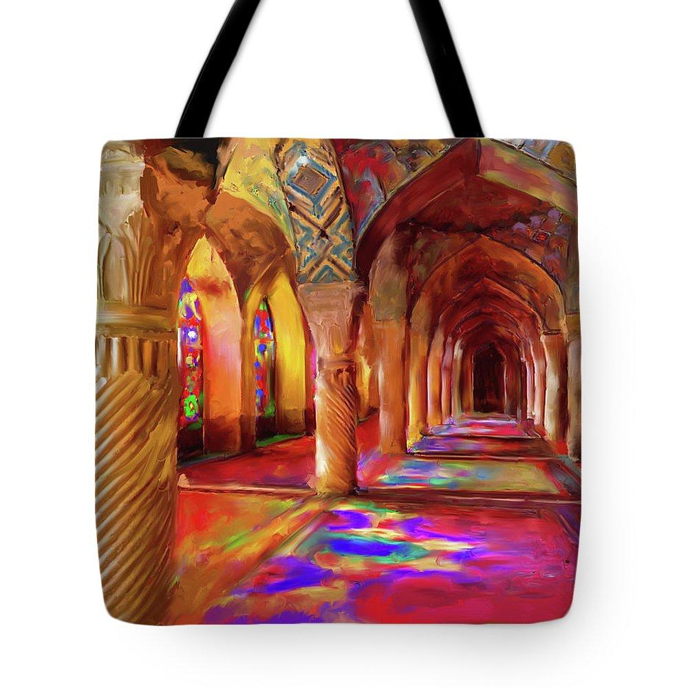Islamic Art Tote Bag featuring the painting Nasir Ol Mulk Mosque 682 1 by Mawra Tahreem