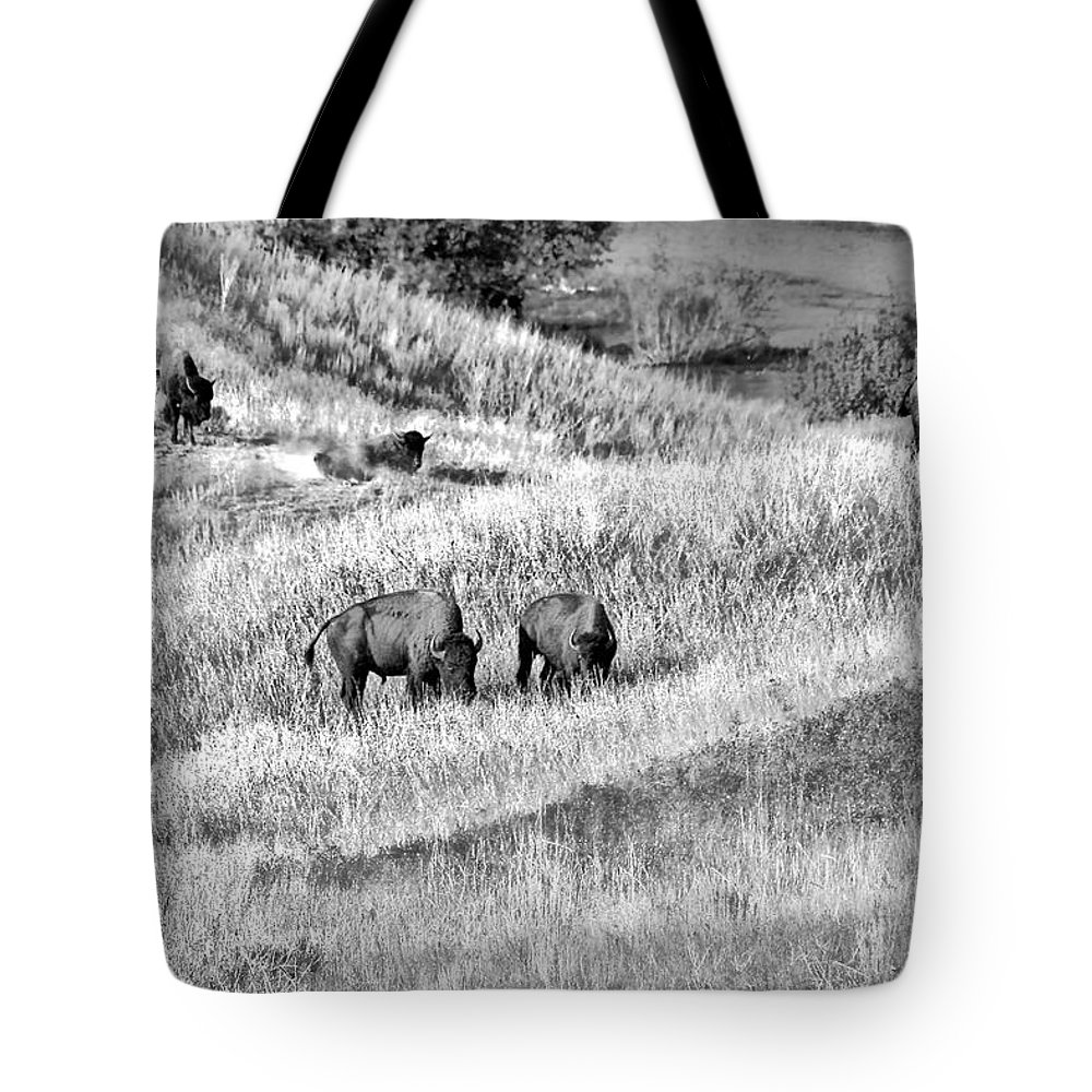 Buffalo Tote Bag featuring the photograph National Bison Range Wildlife Refuge Mt Usa by Christine Till