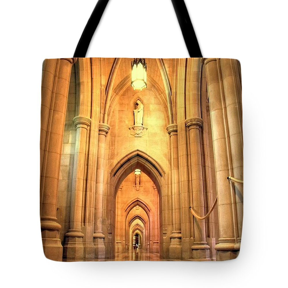 Church Tote Bag featuring the photograph National Cathedral by Mitch Cat